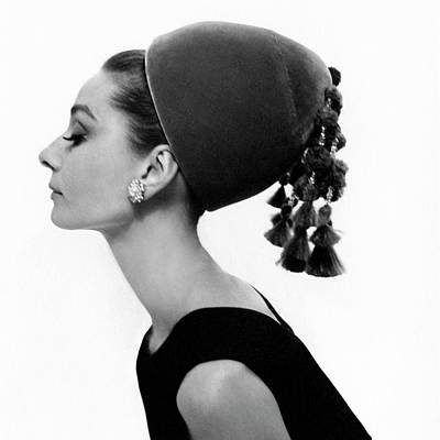 Shoulder Photograph - Audrey Hepburn Wearing A Givenchy Hat by Cecil Beaton