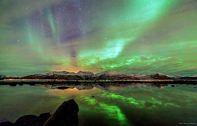Northernlights Photograph - Aurora And Sea by Benny Hoeynes