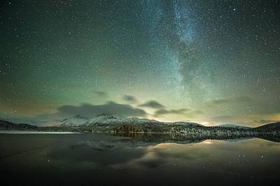 Aurora Borealis And Milky Way Art Print by Tommy Eliassen