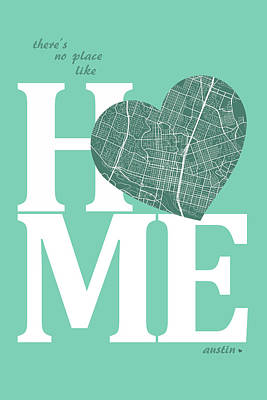 Austin Digital Art - Austin Street Map Home Heart - Austin Texas Road Map In A Heart by Jurq Studio