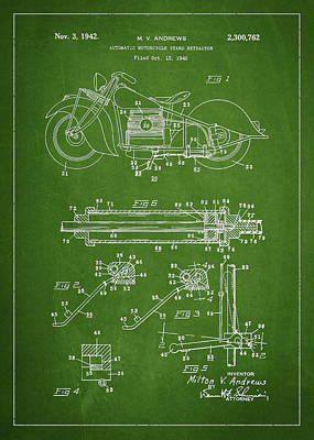 Motorcycle Digital Art - Automatic Motorcycle Stand Retractor Patent Drawing From 1940 by Aged Pixel