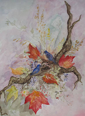 Autumn Bluebirds Art Print