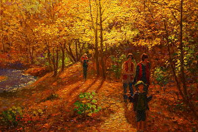 Knifework Painting - Autumn Bush Creek Track  by Terry Perham