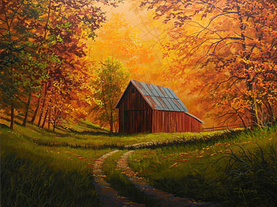 Old Barn Painting - Autumn Glow by Gary Adams