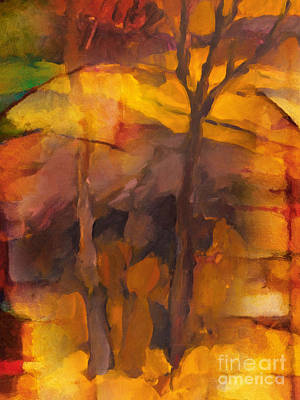 Abstract Landscape Painting - Autumn Gold by Lutz Baar