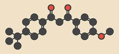 Avobenzone Sunscreen Molecule Art Print by Molekuul