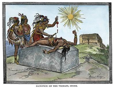 Deity Drawing - Aztec Ritual Sacrifice by Granger