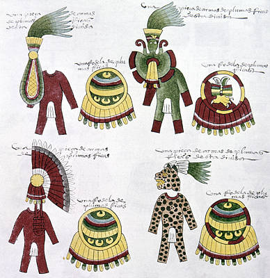 Native American Symbols Painting - Aztec Tribute List, C1540 by Granger
