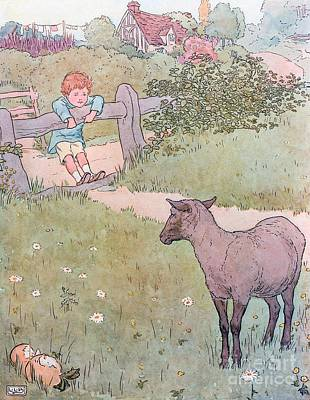 Child Swinging Drawing - Baa Baa Black Sheep by Leonard Leslie Brooke