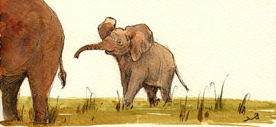 Mother Painting - Baby Elephant by Juan  Bosco