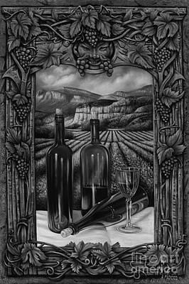 Grapes Painting - Bacchus Vineyard by Ricardo Chavez-Mendez
