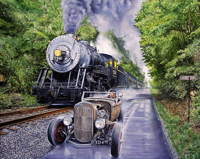 Locomotive Painting - Backwoods Duel by Ruben Duran