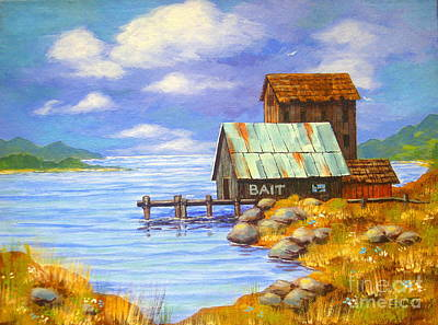 Painting - Bait  Shack by Shasta Eone