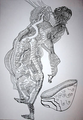 Art Print featuring the drawing Bakiga Dance - Uganda by Gloria Ssali