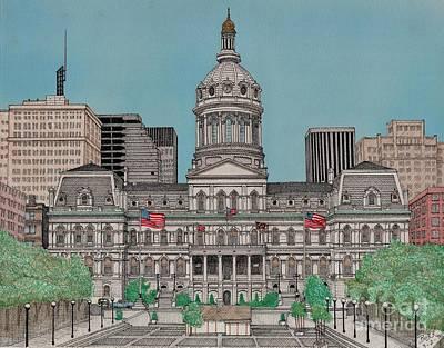 Baltimore City Drawing - Baltimore City Hall by Calvert Koerber