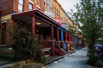 Brick Sidewalks Photograph - Baltimore Row Houses by Mountain Dreams