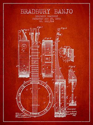 Folk Art Digital Art - Banjo Patent Drawing From 1882 - Red by Aged Pixel