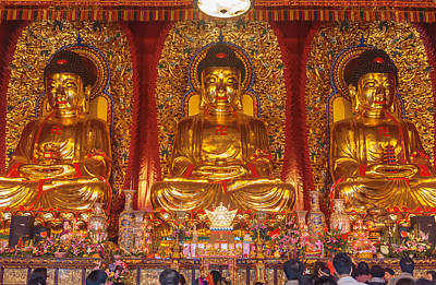 Photograph - Baolin Temple Seated Statues Of Buddha  by Marek Poplawski