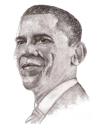 Art Print featuring the drawing Barack Obama by Nan Wright
