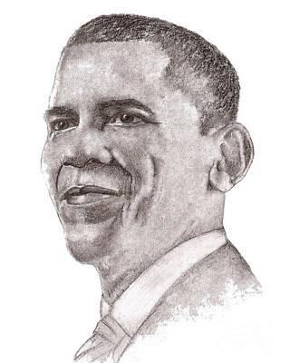 Barack Obama Drawing - Barack Obama by Nan Wright