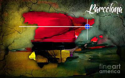 Barcelona Mixed Media - Barcelona Spain Map Watercolor by Marvin Blaine