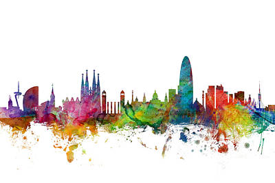 Urban Watercolor Digital Art - Barcelona Spain Skyline by Michael Tompsett