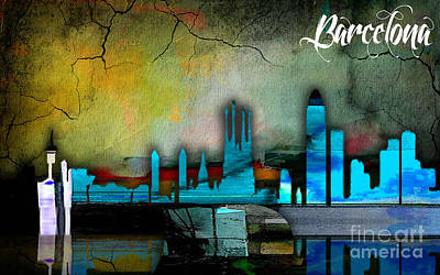 Maps Mixed Media - Barcelona Spain Skyline Watercolor by Marvin Blaine