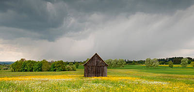 Barn In A Field Of Wildflowers Art Print by Panoramic Images