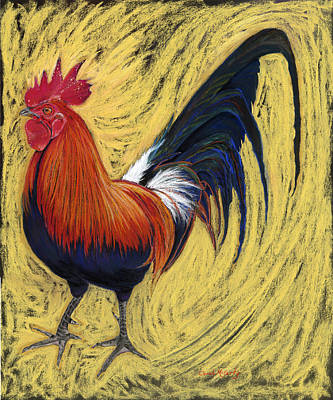 Rooster Wall Art - Painting - Barnyard Trouble by Carol McCarty