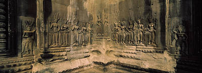Archaeology Reliefs Photograph - Bas Relief In A Temple, Angkor Wat by Panoramic Images