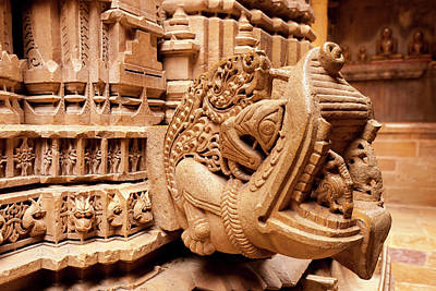 Bas Relief Jain Temple Golden Sandstone Art Print