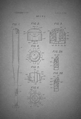 Baseball Art Drawing - Baseball Bat Construction Patent 1974 by Mountain Dreams