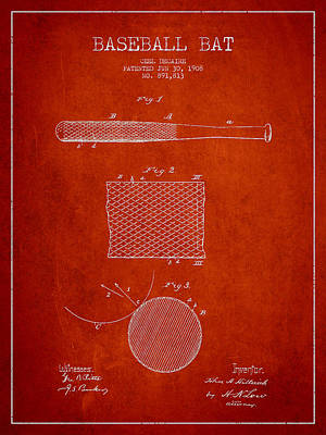 Sports Royalty-Free and Rights-Managed Images - Baseball Bat Patent Drawing From 1904 by Aged Pixel