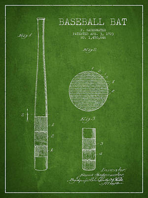 Softball Digital Art - Baseball Bat Patent Drawing From 1923 by Aged Pixel