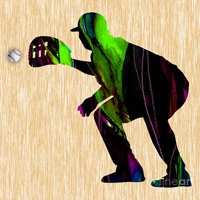 Catcher Mixed Media - Baseball Catcher by Marvin Blaine