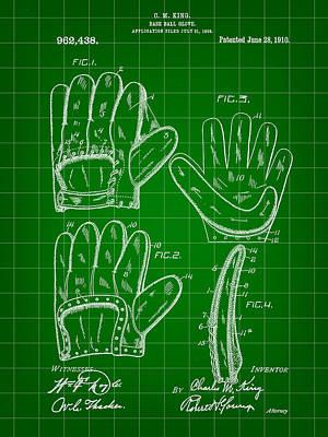 Baseball Glove Patent 1909 - Green Art Print by Stephen Younts