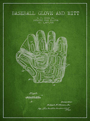 Baseball Art Drawing - Baseball Glove Patent Drawing From 1924 by Aged Pixel
