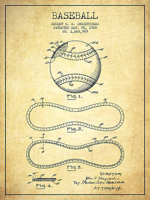Softball Drawing - Baseball Patent Drawing From 1928 by Aged Pixel