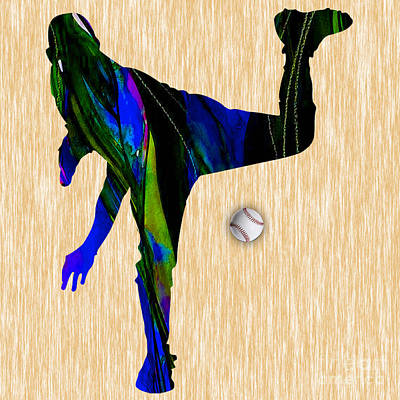 Baseball Pitcher Art Print by Marvin Blaine
