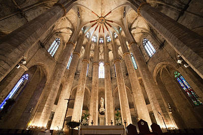 Basilica Of Santa Maria Del Mar In Barcelona Print by Artur Bogacki