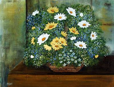 Painting - Basket Of Daisies  by Kathy Sheeran