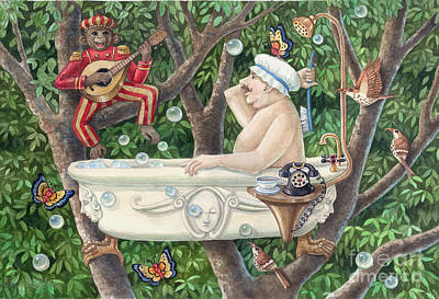 Bath Tub Serenade Art Print by Ann Gates Fiser