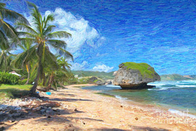 Bathsheba Beach In Barbados Art Print by Verena Matthew