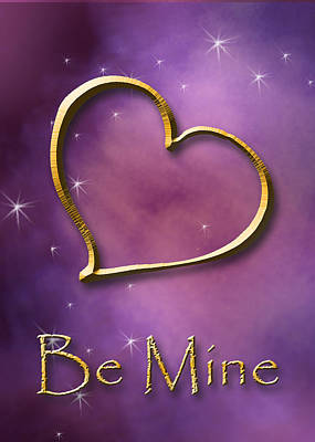 Digital Art - Be Mine Gold Heart by Jeanette K