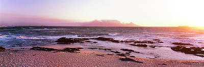 Beach At Sunset, Blouberg Beach, Cape Art Print