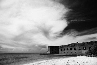 Tortuga Beach Photograph - Beach In Front Of Fort Jefferson Brick Walls With Moat Dry Tortugas National Park Florida Keys Usa by Joe Fox