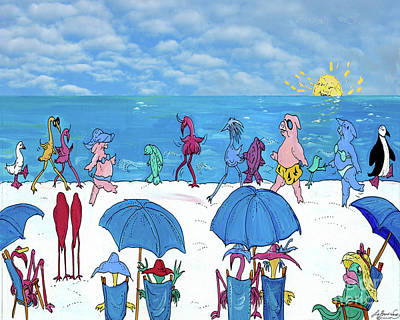 Painting - Beach Walkers by Lizi Beard-Ward