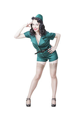 Photograph - Beautiful Brunette Pin-up Girl by Oleg Zabielin