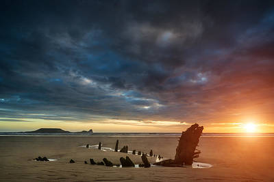 Beautiful Dramatic Sunset Landscape Over Shipwreck On Rhosilli B Print by Matthew Gibson