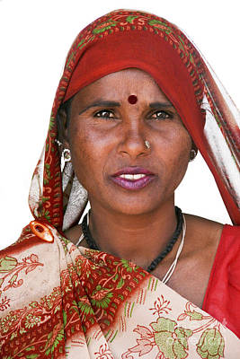Photograph - Beautiful Rajastan Indian Woman In Red Sari And Flowered Scarf by Jo Ann Tomaselli